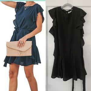 NWTRuffle Sleeve/Hem Tie Waist, Short Sleeve Mini